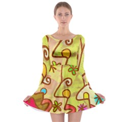 Abstract Faces Abstract Spiral Long Sleeve Skater Dress