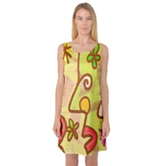 Abstract Faces Abstract Spiral Sleeveless Satin Nightdress