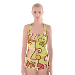 Abstract Faces Abstract Spiral Boyleg Halter Swimsuit