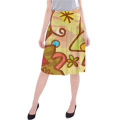 Abstract Faces Abstract Spiral Midi Beach Skirt