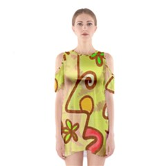 Abstract Faces Abstract Spiral Shoulder Cutout One Piece