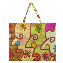 Abstract Faces Abstract Spiral Zipper Large Tote Bag