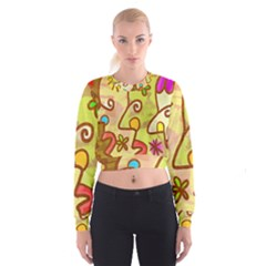 Abstract Faces Abstract Spiral Women s Cropped Sweatshirt
