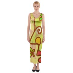 Abstract Faces Abstract Spiral Fitted Maxi Dress