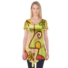 Abstract Faces Abstract Spiral Short Sleeve Tunic