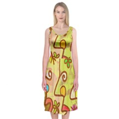 Abstract Faces Abstract Spiral Midi Sleeveless Dress