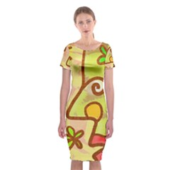 Abstract Faces Abstract Spiral Classic Short Sleeve Midi Dress