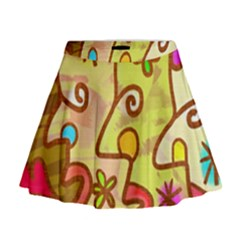 Abstract Faces Abstract Spiral Mini Flare Skirt