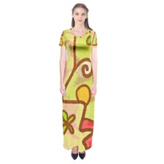 Abstract Faces Abstract Spiral Short Sleeve Maxi Dress