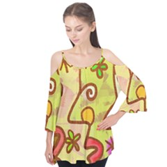 Abstract Faces Abstract Spiral Flutter Tees