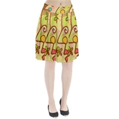 Abstract Faces Abstract Spiral Pleated Skirt