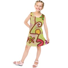 Abstract Faces Abstract Spiral Kids  Tunic Dress