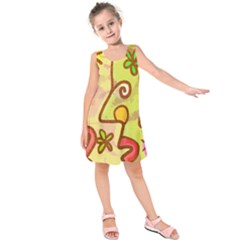 Abstract Faces Abstract Spiral Kids  Sleeveless Dress