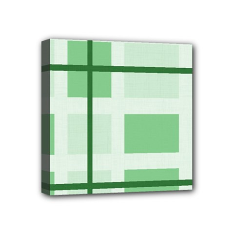 Abstract Green Squares Background Mini Canvas 4  X 4
