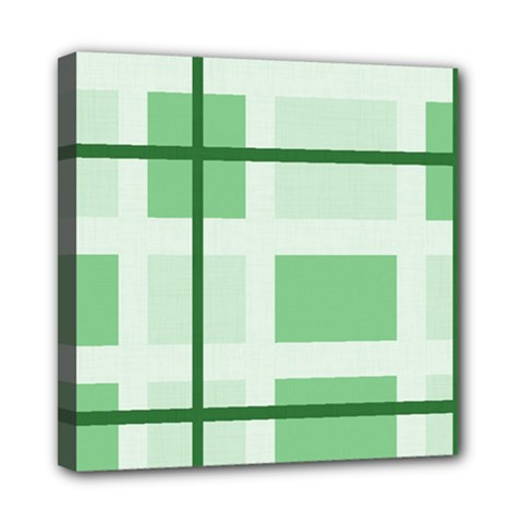 Abstract Green Squares Background Mini Canvas 8  x 8