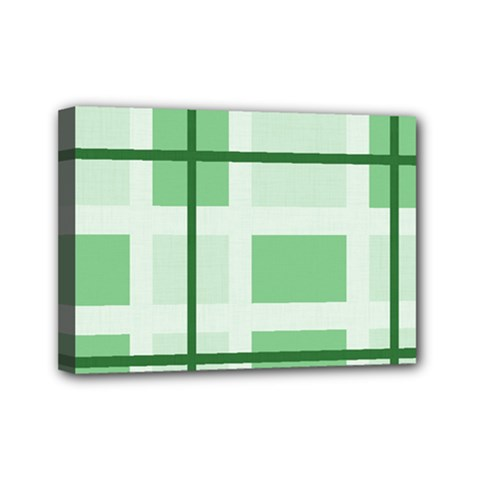 Abstract Green Squares Background Mini Canvas 7  X 5