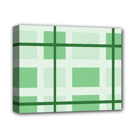 Abstract Green Squares Background Deluxe Canvas 14  X 11