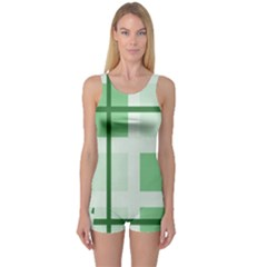 Abstract Green Squares Background One Piece Boyleg Swimsuit