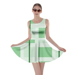 Abstract Green Squares Background Skater Dress