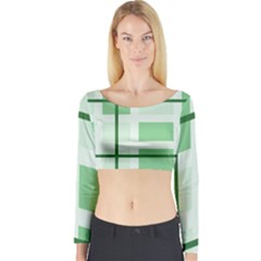Abstract Green Squares Background Long Sleeve Crop Top