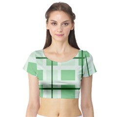 Abstract Green Squares Background Short Sleeve Crop Top (tight Fit)
