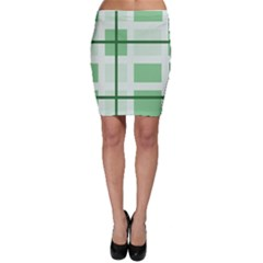 Abstract Green Squares Background Bodycon Skirt