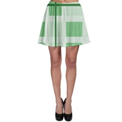 Abstract Green Squares Background Skater Skirt