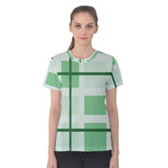 Abstract Green Squares Background Women s Cotton Tee