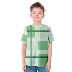 Abstract Green Squares Background Kids  Cotton Tee