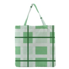 Abstract Green Squares Background Grocery Tote Bag
