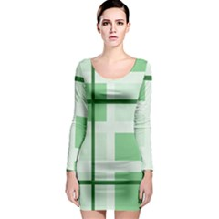 Abstract Green Squares Background Long Sleeve Bodycon Dress