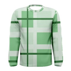 Abstract Green Squares Background Men s Long Sleeve Tee