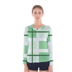 Abstract Green Squares Background Women s Long Sleeve Tee