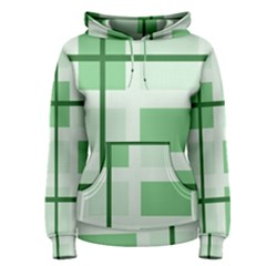 Abstract Green Squares Background Women s Pullover Hoodie