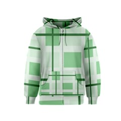 Abstract Green Squares Background Kids  Zipper Hoodie