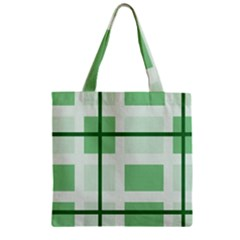 Abstract Green Squares Background Zipper Grocery Tote Bag