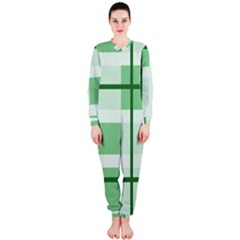 Abstract Green Squares Background OnePiece Jumpsuit (Ladies)