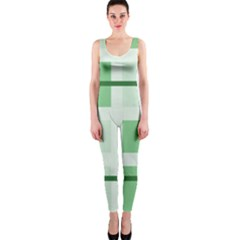 Abstract Green Squares Background OnePiece Catsuit