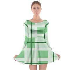 Abstract Green Squares Background Long Sleeve Skater Dress