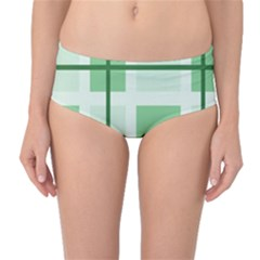 Abstract Green Squares Background Mid Waist Bikini Bottoms