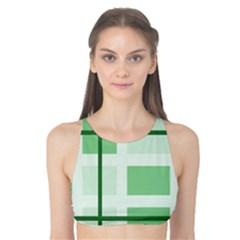 Abstract Green Squares Background Tank Bikini Top