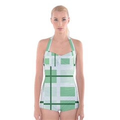 Abstract Green Squares Background Boyleg Halter Swimsuit