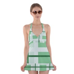 Abstract Green Squares Background Halter Swimsuit Dress