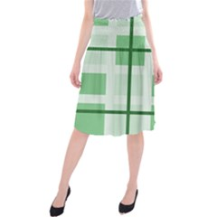 Abstract Green Squares Background Midi Beach Skirt