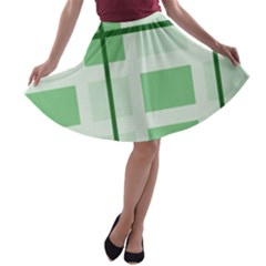 Abstract Green Squares Background A Line Skater Skirt