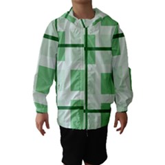 Abstract Green Squares Background Hooded Wind Breaker (kids)