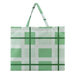 Abstract Green Squares Background Zipper Large Tote Bag
