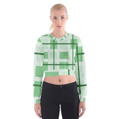 Abstract Green Squares Background Women s Cropped Sweatshirt