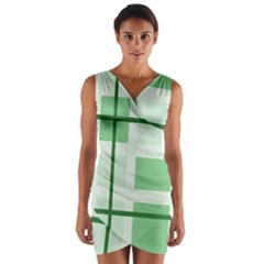 Abstract Green Squares Background Wrap Front Bodycon Dress