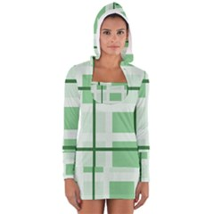 Abstract Green Squares Background Women s Long Sleeve Hooded T Shirt